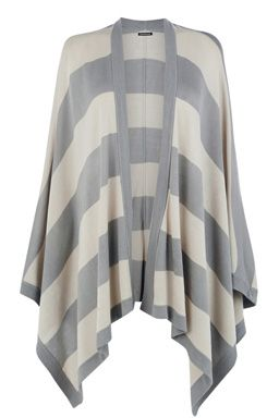 This two-tone cape is the perfect cover-up. The cape is constructed from a super soft knit and features an open front and all-over stripe design. Height of model shown: 5ft 10 inches/178cm. Model wears: UK size 10.Fabric:Main: 100.0% Acrylic.Wash care:Machine WashProduct code: 02298499 £35.00  #WAREHOUSEWISHLIST