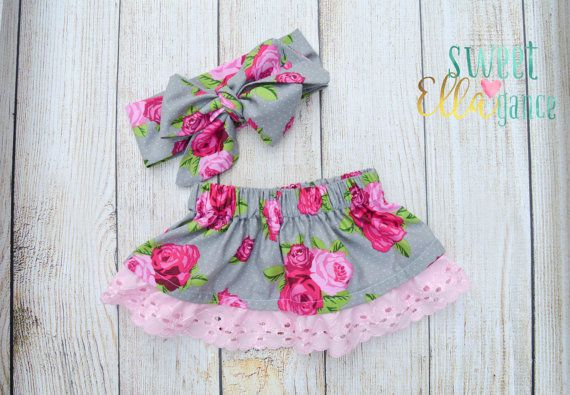 Pink and Grey Rose Baby Skirt-Floral Toddler by SweetELLAgance