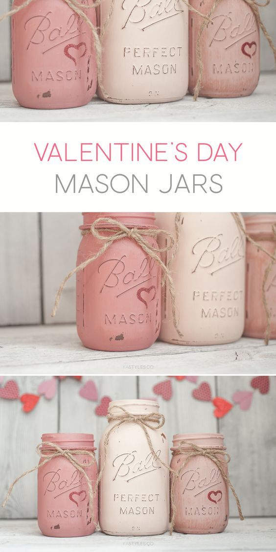 DIY Craft: Latex painted vintage mason jars for Valentine's Day decor.