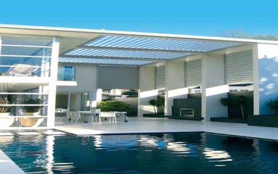 For our new home: Amazing Opening Roofs by Louvretec : Opening Roofs By Louvretec With White Ceiling And Outdoor Pool And Ceramic Floor
