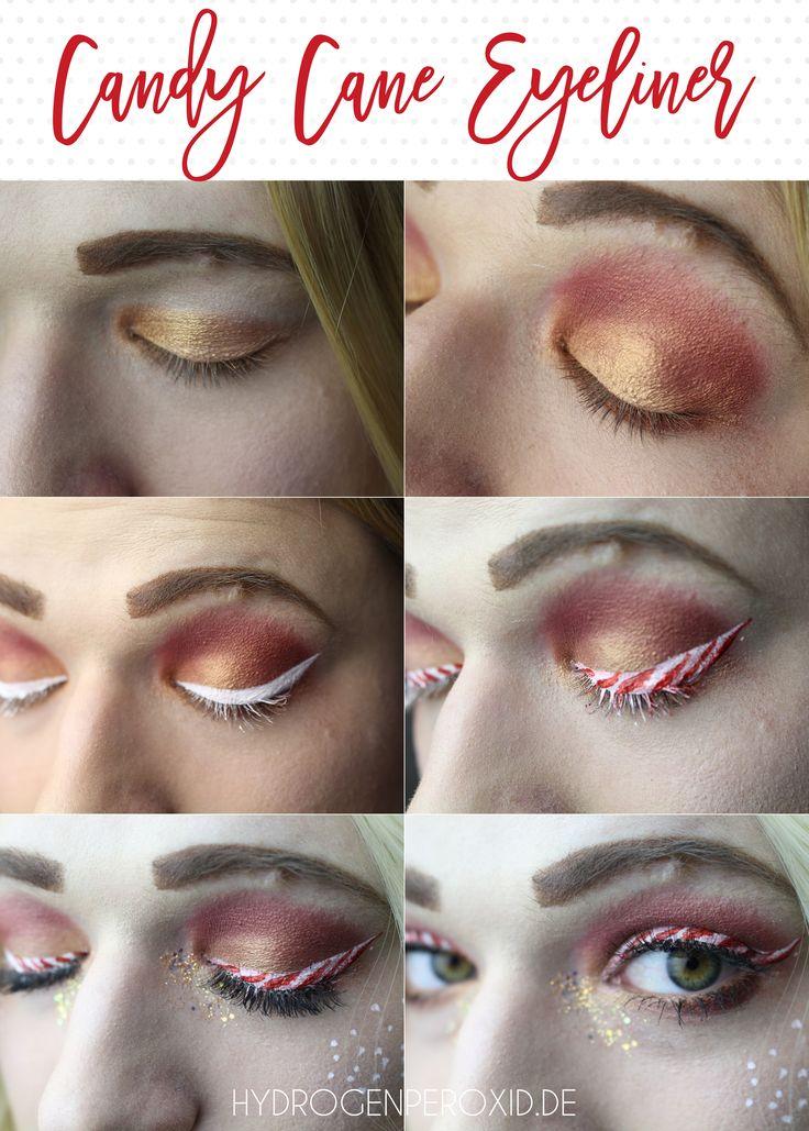 Candy Cane Eyeliner Tutorial  Der perfekte Look für Weihnachten und die Feiertage. Das Zuckerstangen Make Up ist leicht nachzuschminken und kommt immer gut an