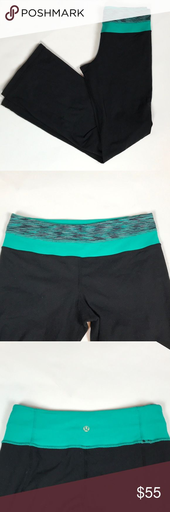 Lululemon Reversible Wide Leg Pants - Size 4 Reversible pants with a solid turquoise waistband and other side is wee stripe turquoise/black/purple colors - Lululemon logo is at back of the waistband on each side - No logo at bottom of calf area - Size 4 lululemon athletica Pants Boot Cut & Flare