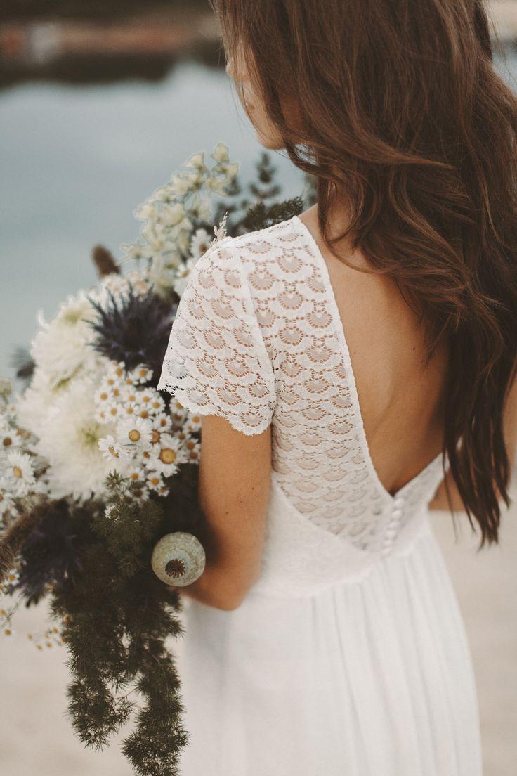 Boho Brautkleid Spitze Rückenausschnitt Vintage Hochzeitskleid Bohemian Wedding…