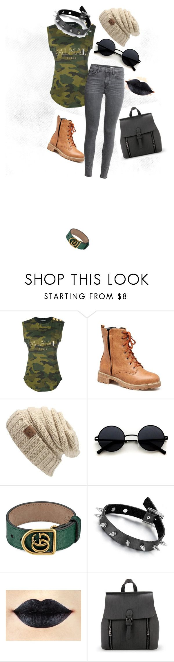 """Punk Hipster Chic"" by emilymariemann ❤ liked on Polyvore featuring Balmain and Gucci"