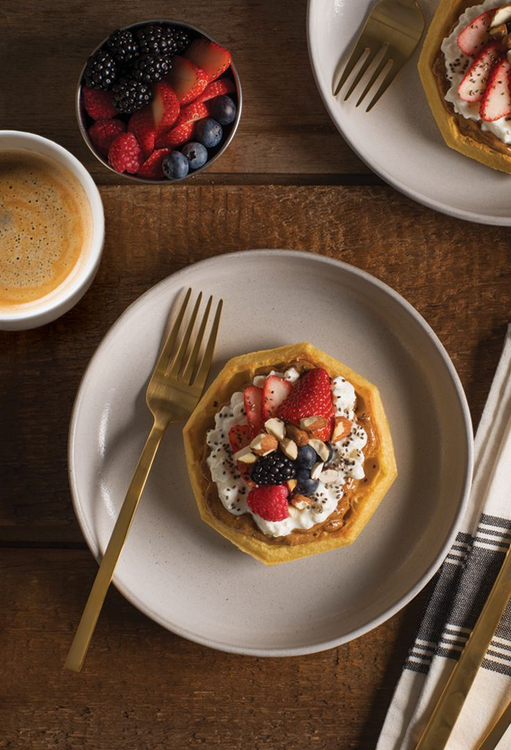 BERRY NUT EGGO® WAFFLES_____________________ Eggo® Thick & Fluffy Original Belgian Waffles + almond butter + cottage cheese + berries + almonds + chia seeds