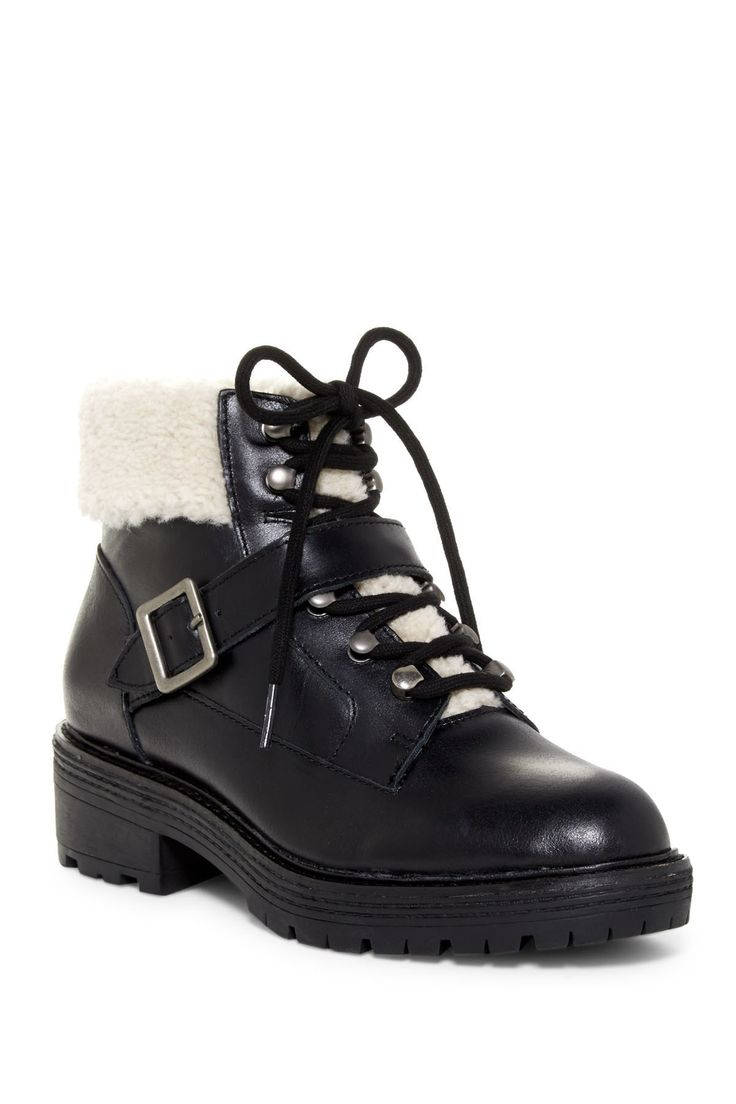 Monroe Genuine Shearling Detail Lace-Up Boot