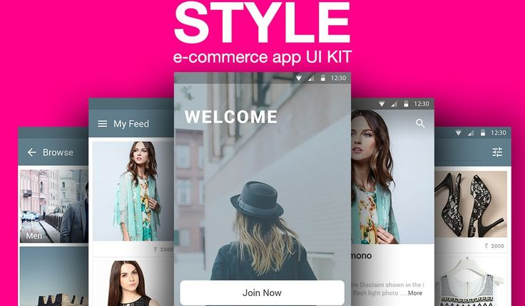 Ecommerce App Ui Kit PSD - material design UI kit - e-commerce fashion mobile application - Shopping app UI Kit
