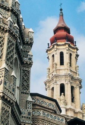 Zaragoza, Spain. Monumentos. La Seo. Torre barroca