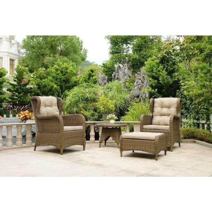 Rosebud Outdoor 2 Seat Wicker Lounge Set w/ Ottoman   Buy Wicker Outdoor Furniture