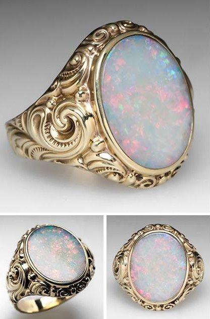 Vintage scroll opal #Rings
