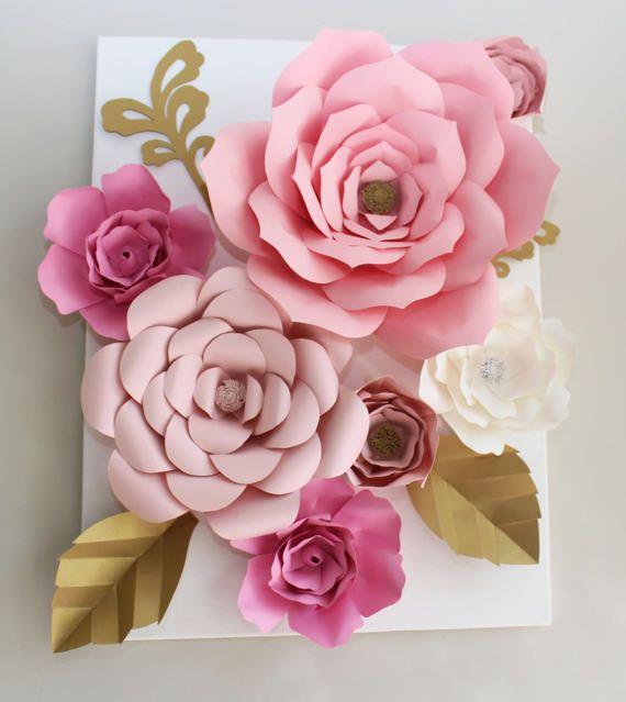 Paper Flower Canvas Paper Flower Decoration Nurserydecor