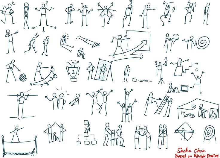 Simple people doodles. Also good for grasping the fundamentals of body contortion ^^