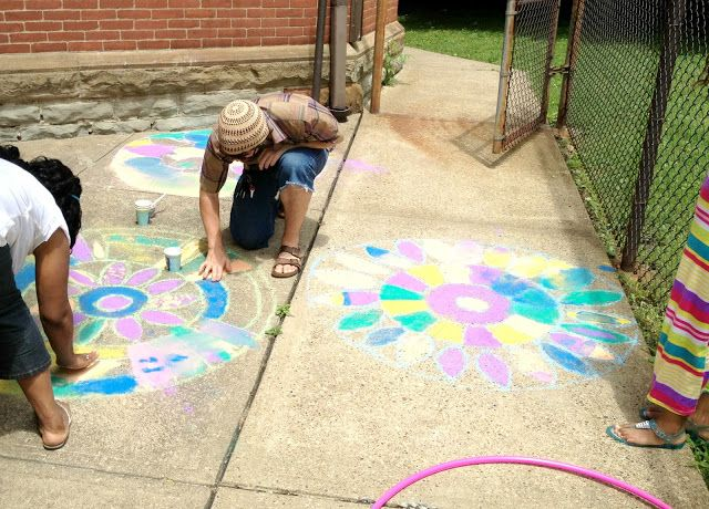 Rangoli Sidewalk Art DIY - after school and summer programming with culture lesson crafts and activities - India folk art