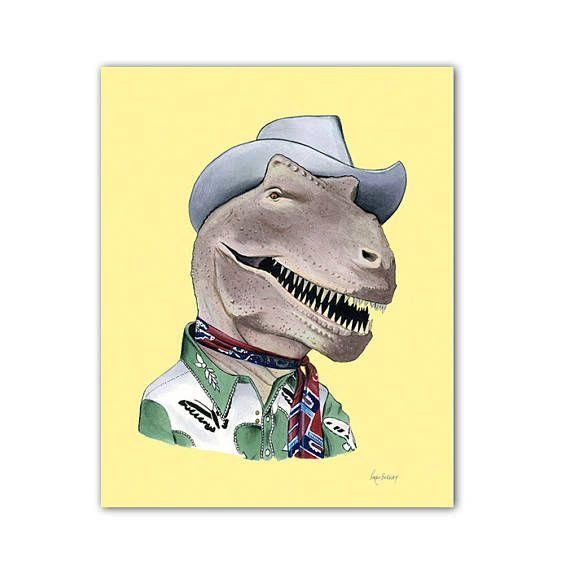 T Rex Dinosaur Print 11x14 Pet Portraits Pet Clothes Dinosaur Art