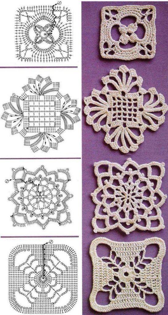 Kare dantel motifleri şemalı anlatım konumda sizlere çok zarif ve kolay yapımlı 4 adet kare dantel motifinden bahsedeceğim. Bu dantel motiflerini istediğiniz her tür örgü üründe kullanabi