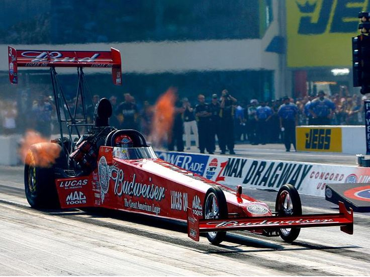 Budweiser Top Fuel Dragster | champion Kenny Bernstein, launches his Budweiser top fuel dragster ...