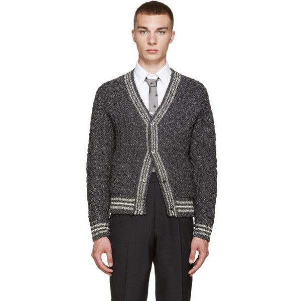 Thom Browne Grey Cable Knit Cardigan (4,265 CNY) ❤ liked on Polyvore featuring men's fashion, men's clothing, men's sweaters, mens cardigan sweaters, mens shawl collar sweater, mens cable sweater, mens striped sweater and mens cable knit shawl collar sweater