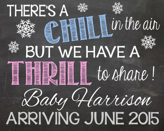 Winter Pregnancy Announcement Chalkboard by LaLaExpressions