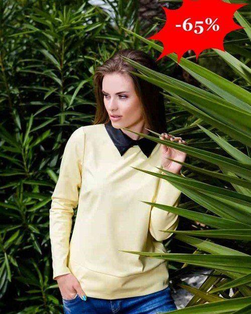 Modna i wygodna bluzka w stylu casual  Uroku nadaje jej kołnierzyk z ekoskóry  -65%  http://ift.tt/2gt2JPQ