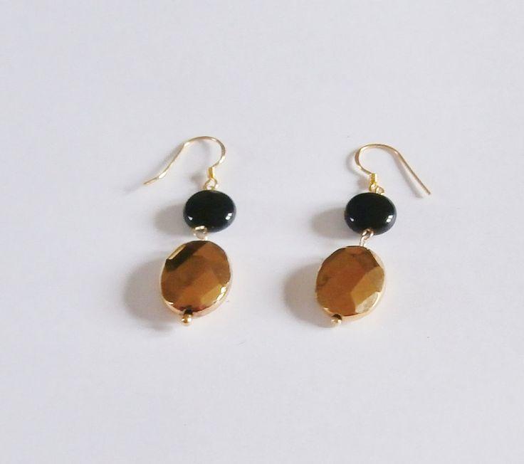 Black Gold Earrings by WearMyJewellery on Etsy