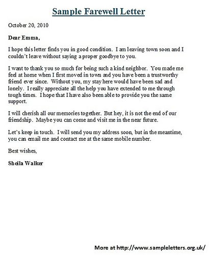Letter of goodbye to a friend