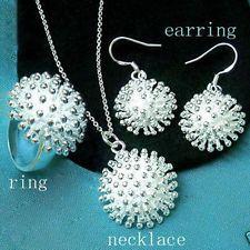 Móda strieborný Krásne ženy dáma pekný prsteň náušnice Náhrdelník Set šperky NEW