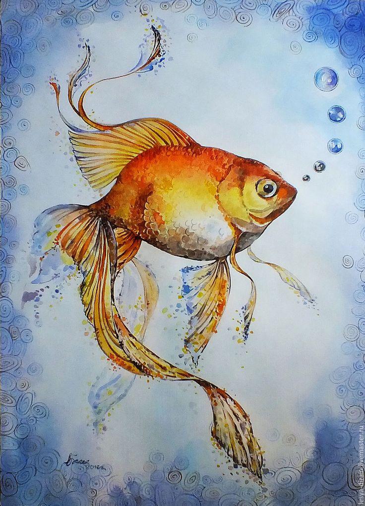 """Купить """"Рыбка Золотая"""" - оранжевый, золотая рыбка, рисунок акварелью…"""