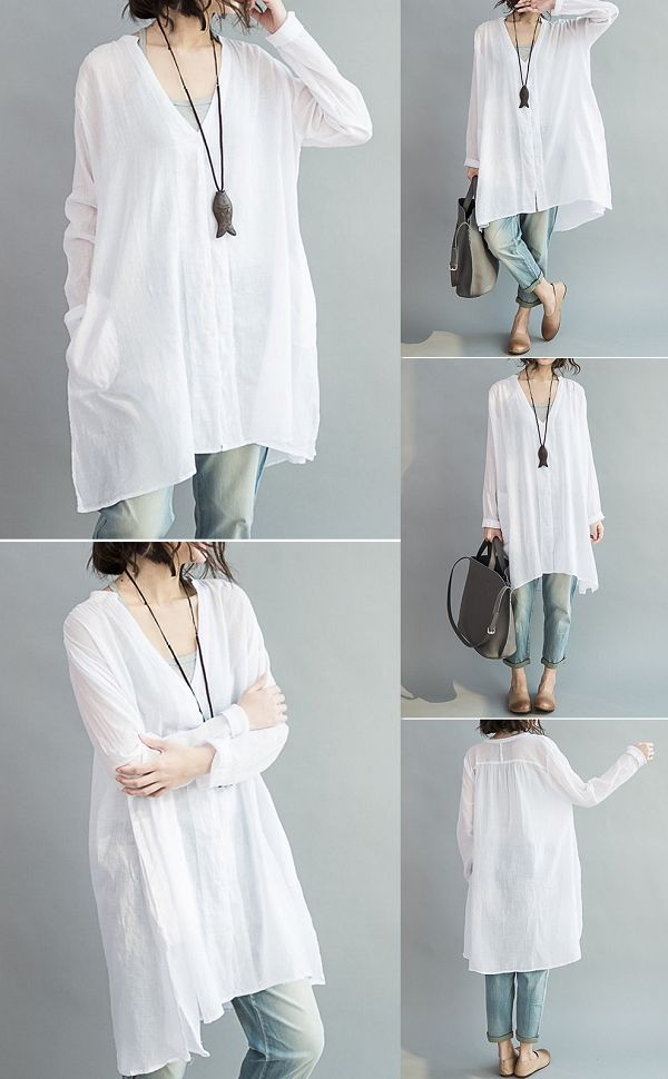 US$17.61 Casual Women Loose White Cotton High Low Blouse
