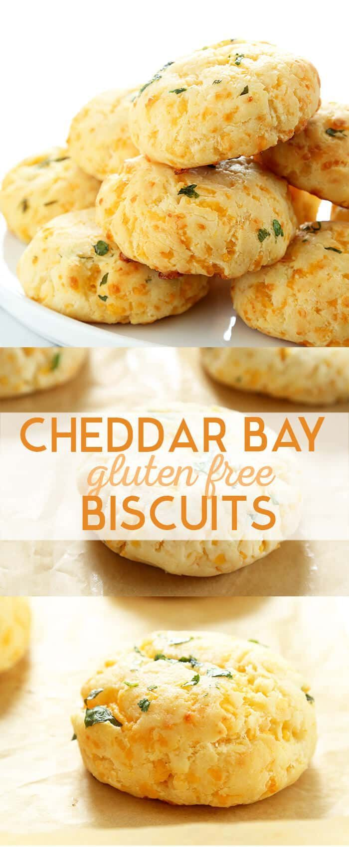 Light and flaky Gluten Free Cheddar Bay Biscuits. Simple drop biscuits that are super easy to throw together, and taste just like the famous Red Lobster Biscuits. Perfect for any meal! #glutenfreerecipes #biscuits #redlobster
