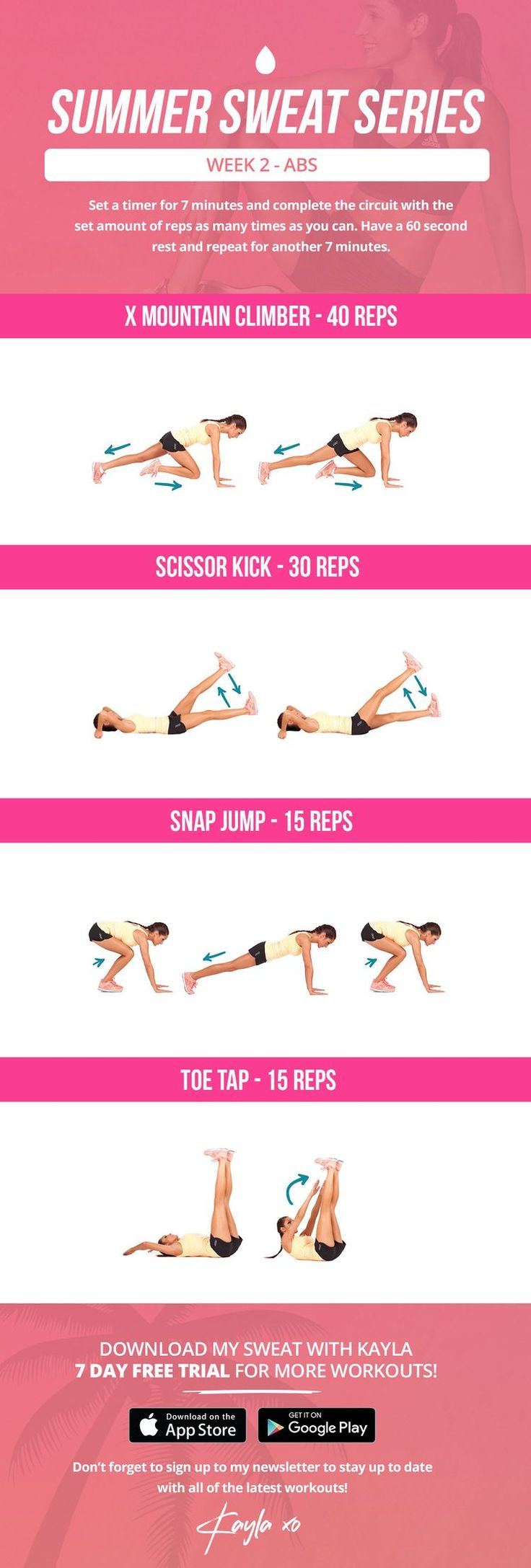 Ab HIIT workout 2x7mins - kayla itsines