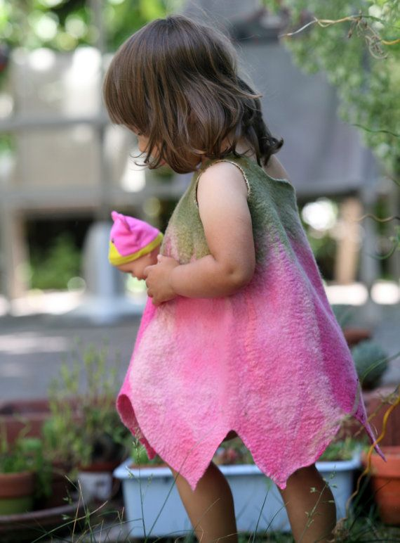 Felted girl tulip flower dress pink baby toddler girl by GBDesign