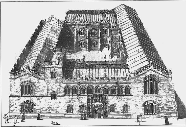The Old Schools, University of Cambridge | A 17th century print showing the Old Schools with its original medieval facade. The dig has uncovered the original front and wall.