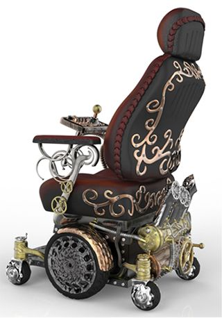 Steampunk Wheelchair - created by Greg Hurly -- The story began when - Modvic - a steampunk art and design company, put out a challenge - create a wheelchair for Kyron, a fourteen year old with Muscular Dystrophy, that matched with his interest in Steampunk -- the winner - Greg Hurly - click through for more on this story ....