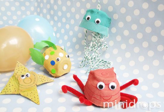 Meerestiere - Eierkarton / #DIY #Craft Egg carton - Under the sea creatures