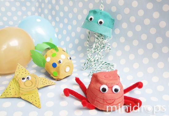 Meerestiere aus Eierkarton - #Basteln mit #Eierkartons - auch schon für #Kindergartenkinder geeignet