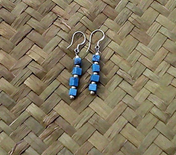 Turquoise Cube Stack Earrings with Sterling Silver by OceanicBeads