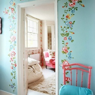 Bright floral stencils.