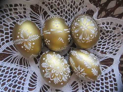 Пасхальные яйца с золотым декором - Домашний hand-made