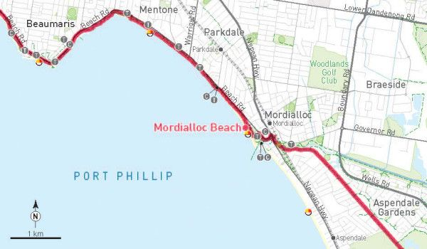 Mordialloc Beach is a great destination for a family day out and you can get there on bike via the Bay Trail from either the South or the North.