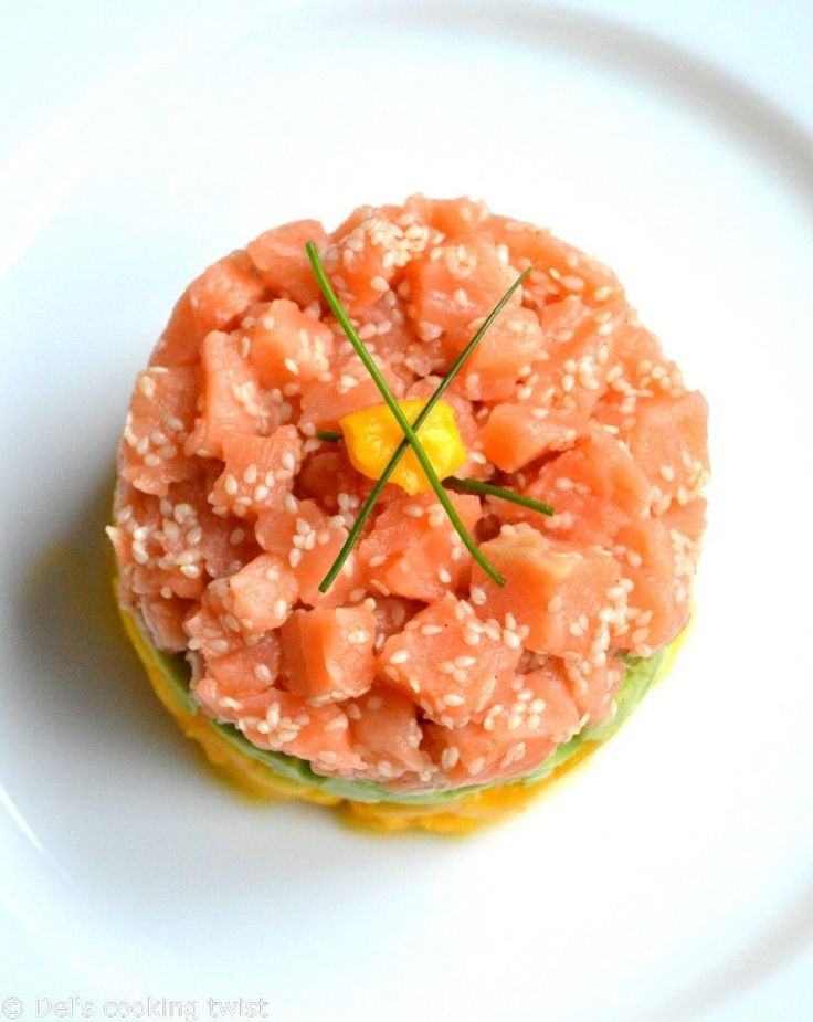 Salmon Tartare with Avocado & Mango Del's cooking twist