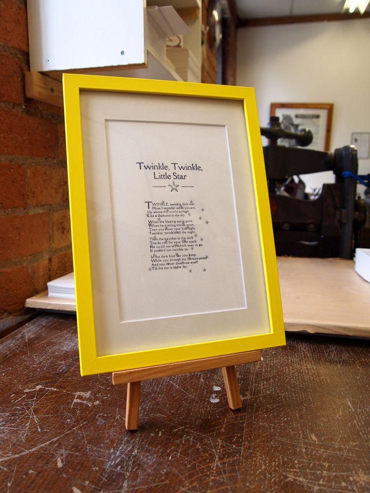 Nursery rhyme Twinkle Twinkle Little Star, a hand printed letterpress print by TheSmallprintCompany on Etsy