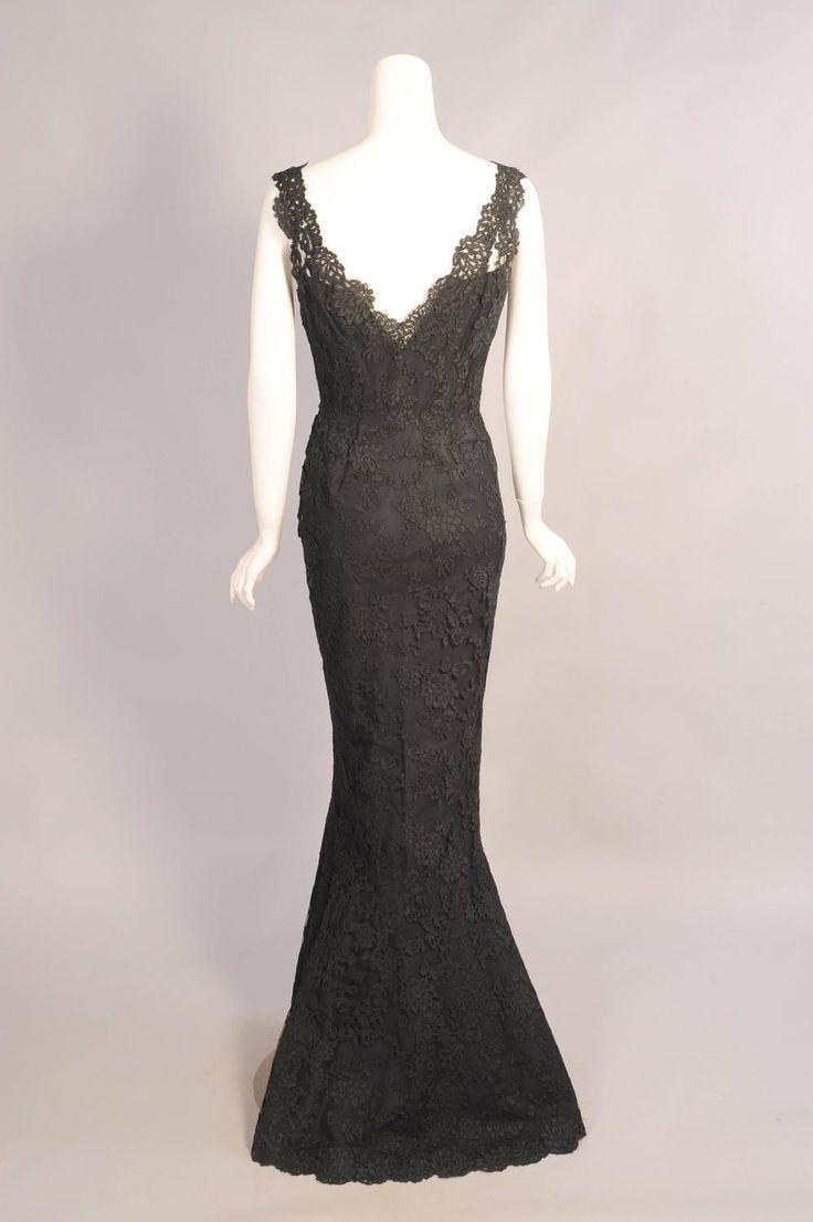 1950 S Balenciaga Haute Couture Alencon Lace Evening Dress