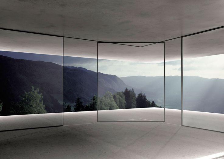 Turntable Corner, da Vitrocsa. O sistema é indicado para panos de vidro retos ou curvos e promete ter o requadro mais fino e discreto do mer...