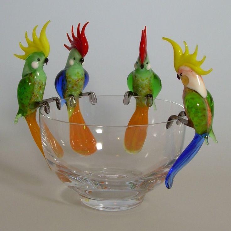 Závěsní papoušci * ručně foukané sklo CZ.
