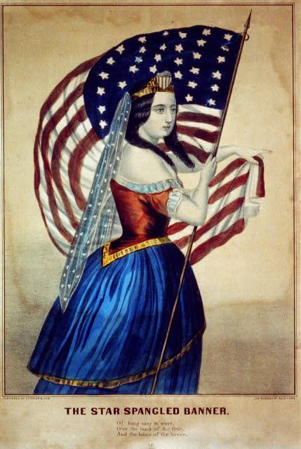 The star spangled banner. 1 print : lithograph, hand-colored. New York : Published by Currier & Ives, [between 1856 and 1907] Popular Graphic Arts, Library of Congress Prints and Photographs Division.