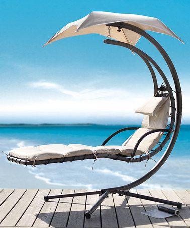 Covered Outdoor Swinging Lounger #zulilyfinds #zulily #dreamingofsummer