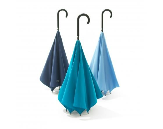 UnBrella (Navy, Turquoise, Light blue) - Upside down, inside out umbrella. The wet surface is tucked in when it is closed and it doesn't wet your and other people's clothes. Stand on its own - designed by Hiroshi Kajimoto