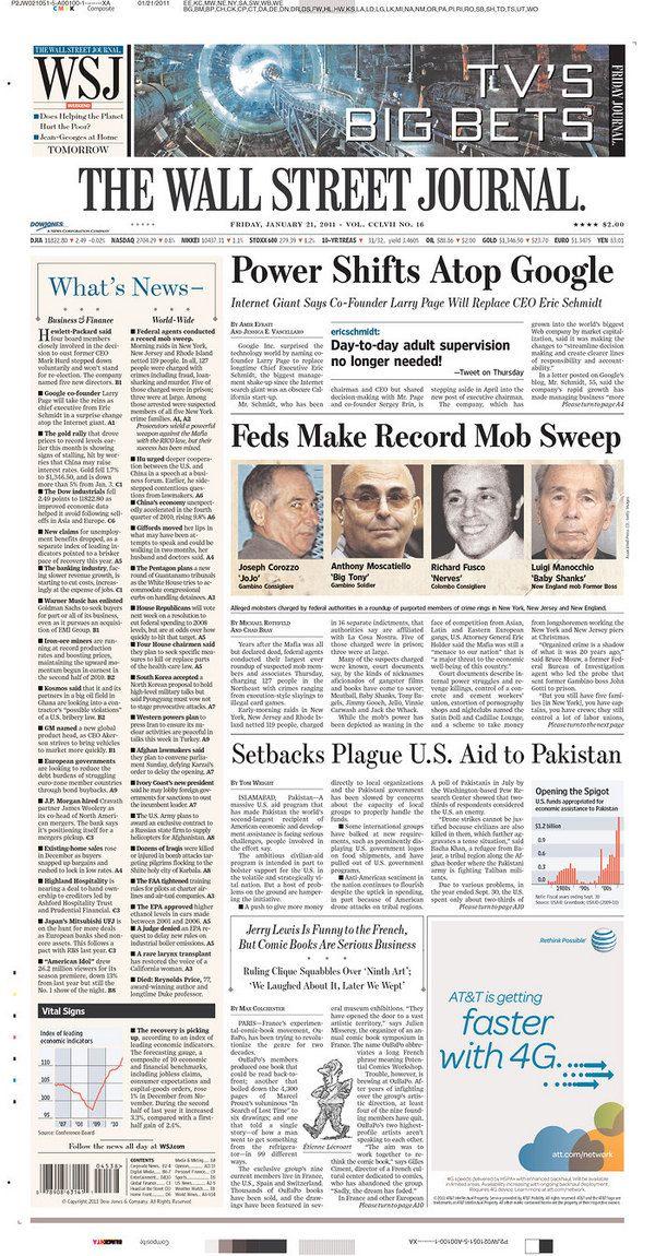 @EricSchmidt tweet: WSJ front page, Jan. 21, 2011