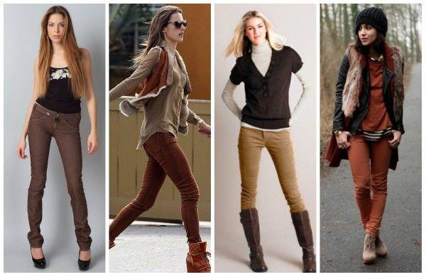 С чем носить коричневые брюки (джинсы) - фото-образы.