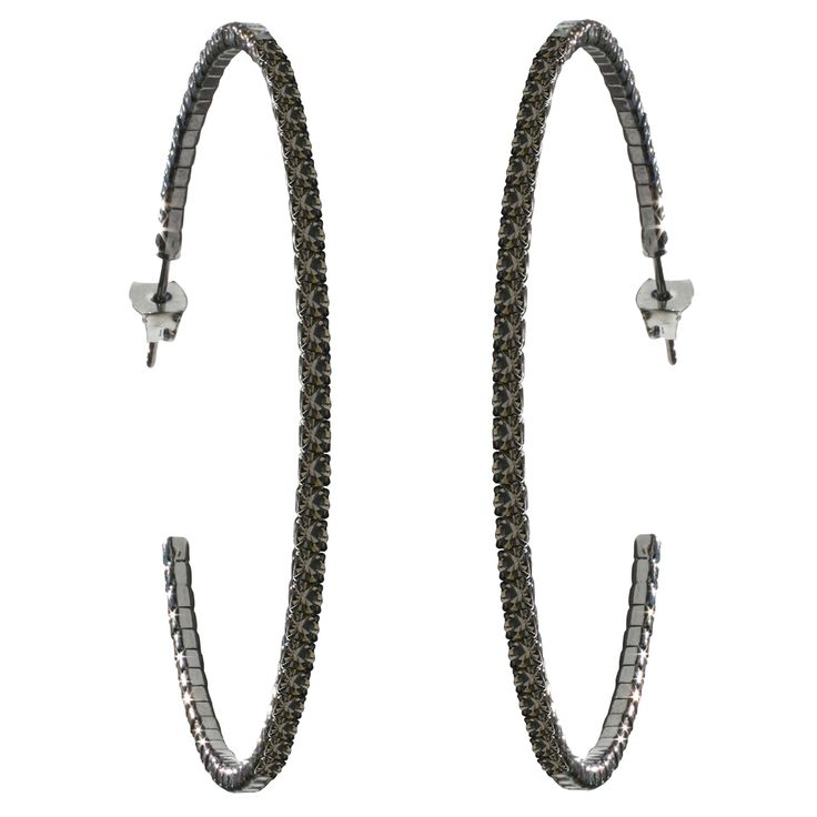 50mm Crystal Hoop Earrings – Black Diamond